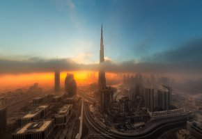 Обои ОАЭ, город, Дубай, ночь, вечер, облака, туман