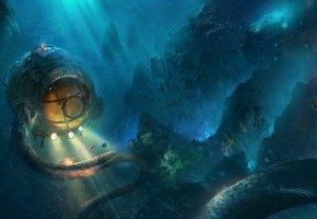 Обои арт, подводная лодка, свет, русалка, глубина