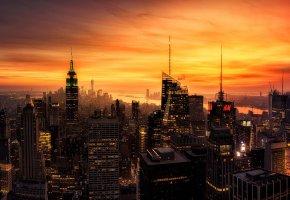 Обои США, Нью-Йорк, вечер, закат, огни, здания