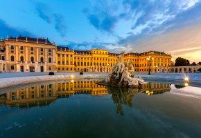 Обои Австрия, Вена, Schonbrunn Palace Vienna, фонтан, вечер, фонари