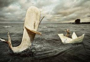 Обои мужчина, кораблик, бумага, кит, бумажный, вода