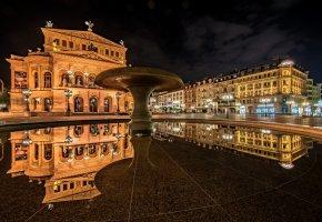 Обои Германия, фонтан, отражение, огни, ночь, здания