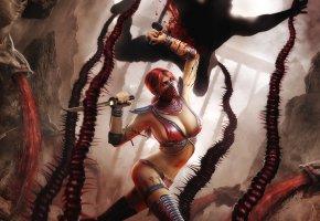 Обои драки, mortal kombat, skarlet, бой, поединок, мечи
