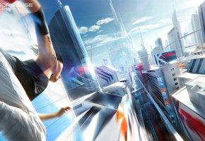 Обои Зеркала, Mirror\'s Edge: Catalyst, Faith, Electronic Arts, DICE, девушка, бег, город