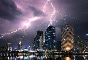 Обои Bangkok, Thailand, город, дома, молния, ночь, огни