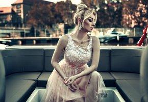 Обои стиль, яхта, платье, девушка, модель