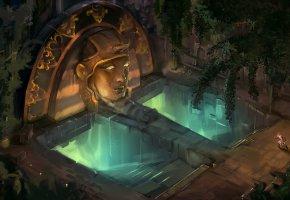 Обои Храм, статуя, ступени, человек, свечение, арт, голова