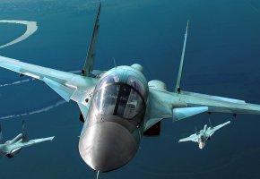 Обои СУ 34, сухой, полёт, бомбардировщик, самолёты