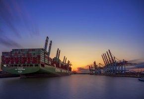 Обои порт, закат, Гамбург, корабли