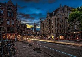 Обои Amsterdam, Netherlands, Амстердам, Нидерланды, улица, дома, огни, вечер