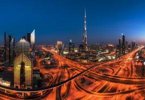 Обои город, Дубаи, ОАЭ, вечер, дороги, огни, дома, здания