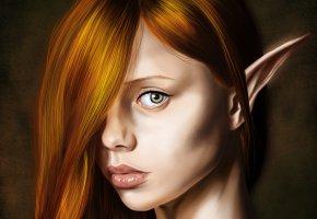 Обои фэнтази, эльфийка, арт, рыжая, ушки, взгляд