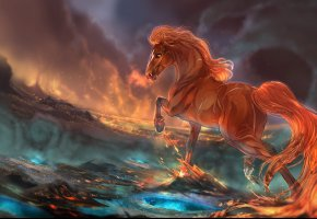 Обои Огонь, лошадь, грива, хвост, Фантастика