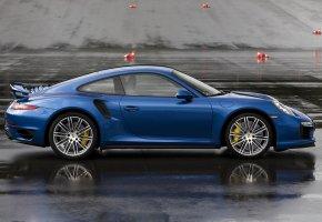 Обои Porsche, 911, Turbo S, Синий, авто, дорога