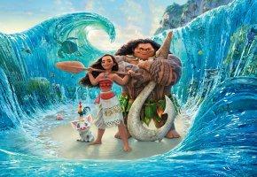 Обои абориген, Моана, волны, Walt Disney, море, мультфильм, Moana, весло, персонажи, девочка