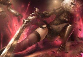 Обои робот, повязка, меч, девушка, битва