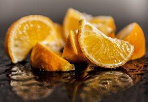 Обои фрукт, апельсин, вода, макро