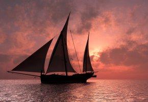 Обои парусник, горизонт, небо, зарево, паруса, корабль, тучи, море