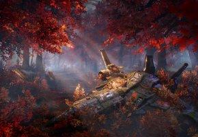 Обои лес, осень, деревья, фантастика, арт, корабль