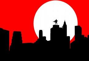 Обои луна, плащ, силуэт, маска, город