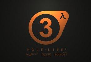 Обои логотип, Valve, orange, Half-Life-3, logo