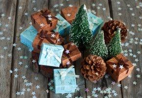 Обои конфетти, елка, праздник, подарки, звездочки