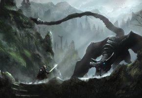 Обои Фантастика, Воин, Горы, Битва, Дракон