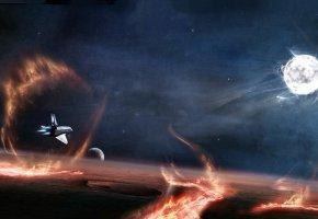 Обои космос, вселенная, планеты, свечение, невесомость, вакуум, галактика, art