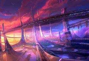 Обои будущее, озера, город, мост, небоскребы, мегаполис