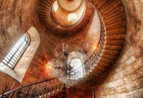 Обои Винтовая, лестница, интерьер, дизайн, окна