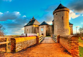 Обои Мальбрук, башня, замок, Франция, мост, стены
