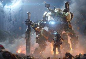 Обои Titanfall 2, Game, игра, робот, солдат, оружие, разруха, война