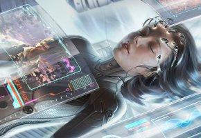 Обои девушка, киберпанк, cyberpunk, фантастика, приборы, датчики