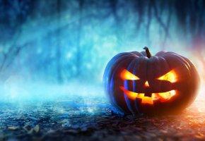 Обои evil face, halloween, Хэллоуин, тыква