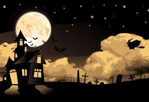 Обои Art, Halloween, Night, хэллоуин, кресты, кладбище, ведьма, метла, полет, луна, летучие мыши