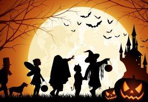 Обои Дети, Хэллоуин, летучие мыши, замок, луна, ночь, тыква