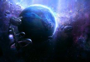 Обои астероиды, космический корабль, планета, Звезды