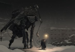 Обои робот, фантастика, путник, вечер, человек, зима, капюшон, свет