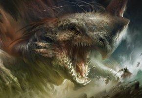 Обои фантазия, зубы, клыки, дракон, люди, доспехи, битва, арт