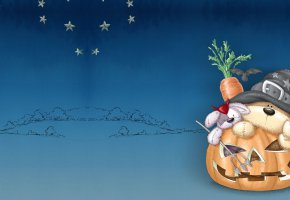 Обои праздник, арт, Хэллоуин, тыква, морковка, зайчик, медвежонок