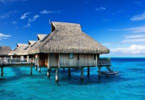 Обои тропики, океан, вода, Лето, домики
