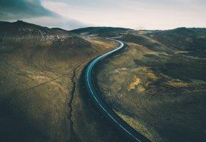 Обои горы, разлом, дорога, холмы, пейзаж