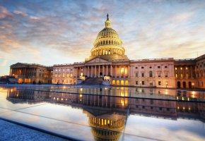 Обои закат, облака, небо, здание, Конгресс, США, Капитолий, Вашингтон