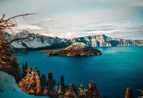 Обои кратер, озеро, США, Crater Lake, Орегон, деревья, снег