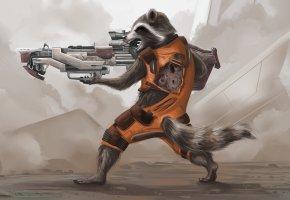 Обои Art, оружие, Винтовка, Rocket Raccoon, Еноты, Guardians of the Galaxy, Стражи Галактики