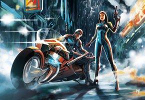 Обои город, супер герои, будущие, мотоцикл, девушка, мужчина