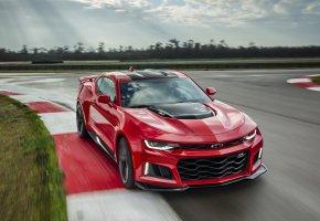 Обои шевроле, скорость, трасса, автомобиль, красный
