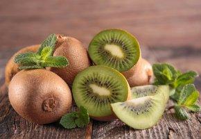 Обои Киви, Кусок, фрукт, листья, мята