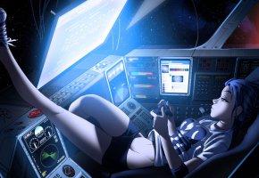 Обои аниме, космос, galaxy, девушка, anime, вселенная, монитор, джойстик