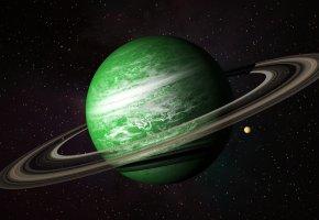 Обои планета, зеленая, пояс, космос, звёзды, спутник, кольца